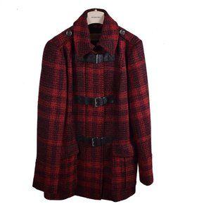 Burberry Brit Red Black Plaid Wool Women's Jacket 14 EUC $1095 Pillar Box